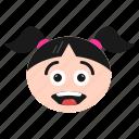emoji, emoticon, face, girl, happy, surprised, women