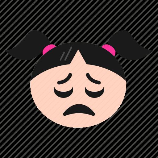 Depressed, emoji, emoticon, face, girl, sad, women icon - Download on Iconfinder