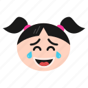 emoji, emoticon, face, girl, laughing, women icon