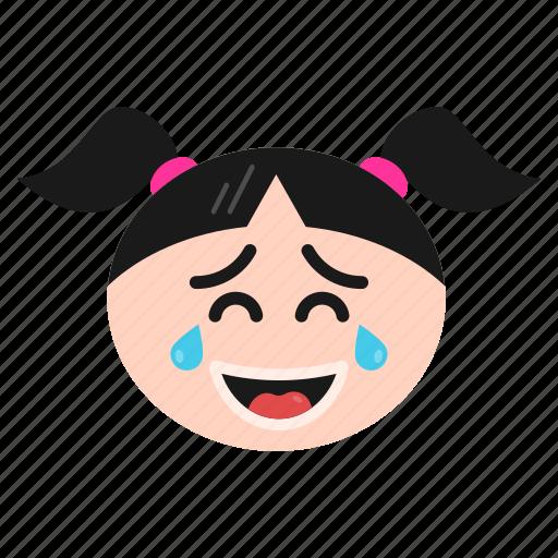 emoji, emoticon, face, girl, laughing, women icon
