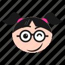 emoji, girl, happiness, smile, smirking, winking, women icon