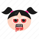 devil, dracula, emoji, emoticon, evil, girl, women icon
