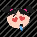 adorable, drooling, emoji, emoticon, face, girl, women icon