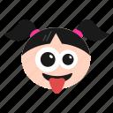 crazy, emoji, emoticon, face, girl, naughty, women icon