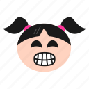 bear, emoji, emoticon, face, girl, laughing, women icon
