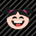 crazy, emoji, face, girl, naughty, smile, women