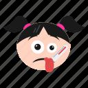 emoji, fever, girl, ill, sick, thermometer, women