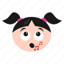 emoji, emoticon, girl, music, note, singing, women