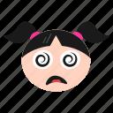 confused, dizzy, emoji, face, girl, silly, women