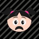 depressed, emoji, emoticon, face, girl, sad, women