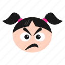 angry, annoyed, emoji, emoticon, girl, sad, women icon