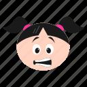 emoji, emoticon, face, girl, grimacing, irritated, women