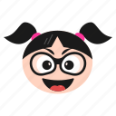 cool, emoji, emoticon, face, girl, sunglasses, women icon