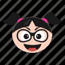 cool, emoji, emoticon, face, girl, sunglasses, women
