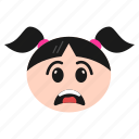 depressed, emoji, face, frowning, girl, sad, women