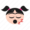 face, girl, mouth, open, sleeping, snoring, zzz icon