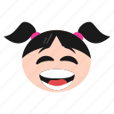 big, emoji, emoticon, girl, grin, happy, women icon