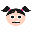 irritated, women, emoticon, emoji, face, grimacing, girl icon