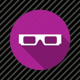 cinemal, eye, eyesight, film, glasses, illusion, media, movie, show icon