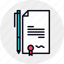 agreement, business, certify, contract, deal, paper, signed icon