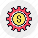 cog, cogwheel, dollar, finance, making, money, work icon
