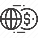 global, exchange, transfer, world, transaction, currency, money icon