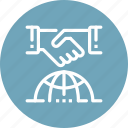 agreement, deal, global, handshake, international, meeting, world icon