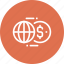 world, global, currency, transfer, exchange, transaction, money icon