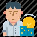 entrepreneur, avatar, idea, investor, startup icon
