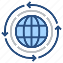 abstract, arrow, circle, directions, global, navigation, world icon
