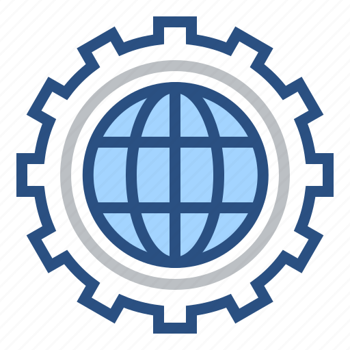 configuration, development, global, processing, production, setting, world icon