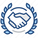 agreement, deal, global, handshake, international, laurel, wreath icon