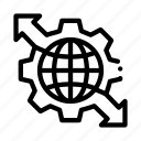 mechanical, global, gear, business, sphere, arrows, strategy icon