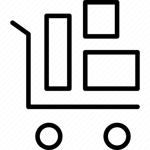 delivery, mail, packages, shipment, trolly icon