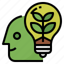 eco, green, growth, thinking icon