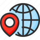 earth, globe, location, pin, planet, pointer, world icon