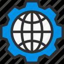 cogwheel, earth, globe, options, planet, settings, world icon