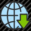 arrow, down, earth, globe, planet, world icon