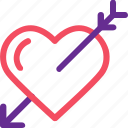 arrow, celebration, heart, love, marriage, party, wedding icon