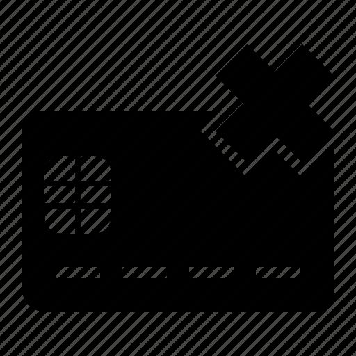 cancel, card, chip, credit, debit, delete icon