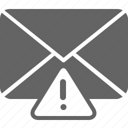 alert, communication, email, envelope, message, warning icon