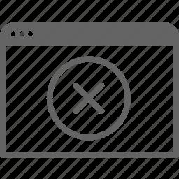 cancel, communication, computer, internet, remove, window icon