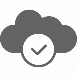 cloud, communication, confirm, download, upload icon