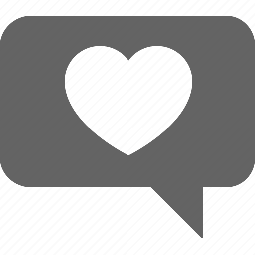 chat, communication, heart, love, message, text icon