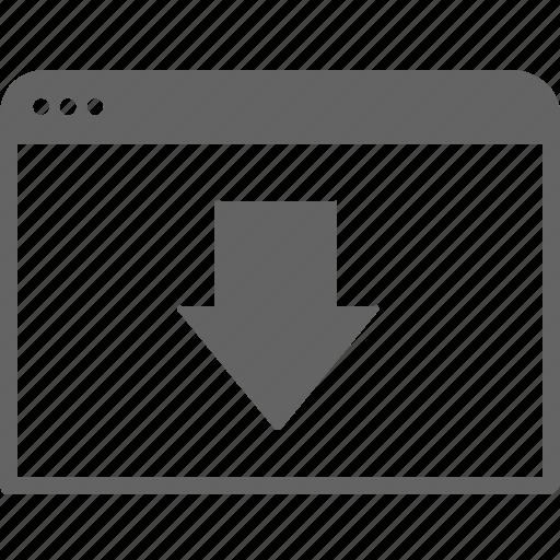 arrow, communication, down, internet, move, window icon