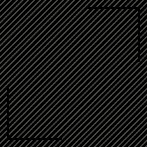 arrows, basic, hairline, increase, maximize, minimal, r icon