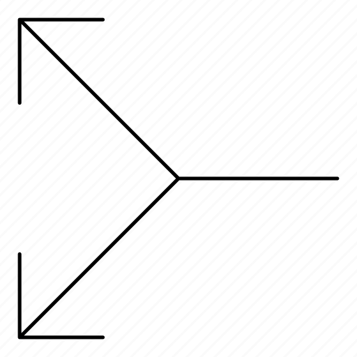 arrows, basic, divide, hairline, minimal, r, split icon