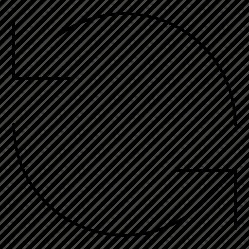 arrows, basic, hairline, minimal, r, refresh, rotate icon