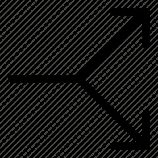 arrows, basic, r, right, split icon