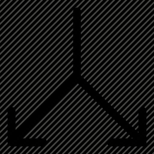 arrows, basic, down, r, split icon